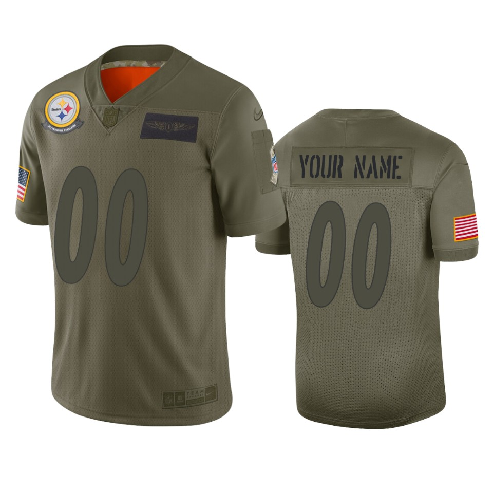 Men's Pittsburgh Steelers Customized 2019 Camo Salute To Service NFL Stitched Limited Jersey