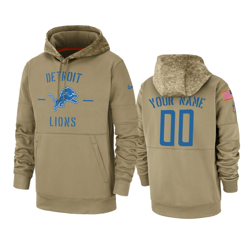Men's Detroit Lions Customized Tan 2019 Salute To Service Sideline Therma Pullover Hoodie