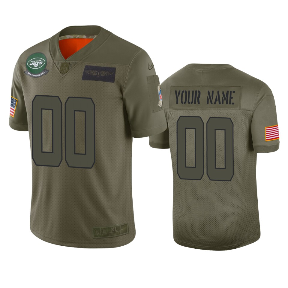 Men's New York Jets Customized 2019 Camo Salute To Service NFL Stitched Limited Jersey