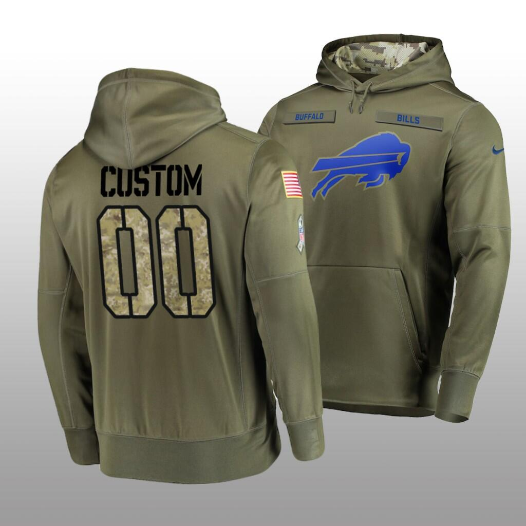Men's Buffalo Bills Customized Olive Salute To Service Sideline Therma Performance Pullover Hoodie