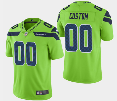 Men's Seattle Seahawks Customized Green Vapor Untouchable Limited Stitched NFL Jersey