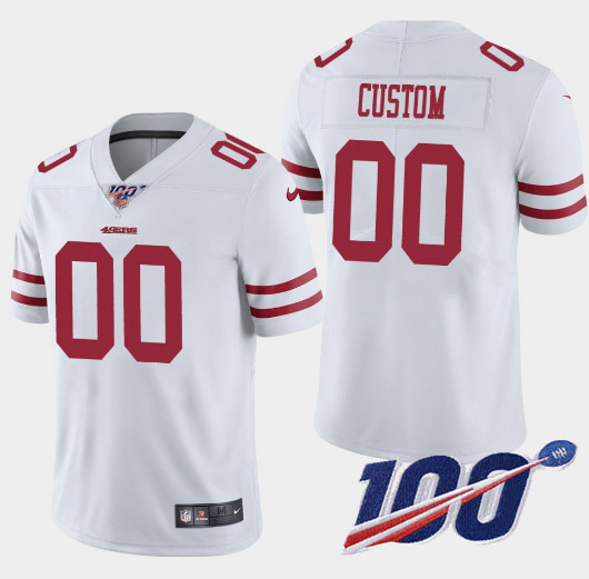 Men's 49ers ACTIVE PLAYER White 2019 100th Season Vapor Untouchable Limited Stitched NFL Jersey.
