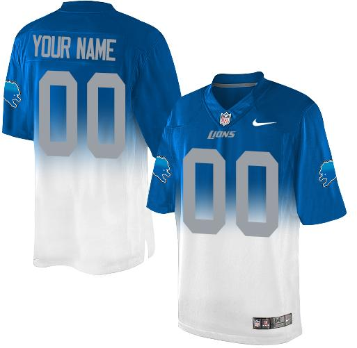 Nike Detroit Lions Customized Blue/White Men's Stitched Elite Fadeaway Fashion NFL Jersey