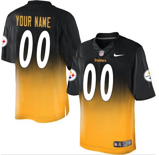 Nike Pittsburgh Steelers Customized Black/Gold Men's Stitched Elite Fadeaway Fashion NFL Jersey