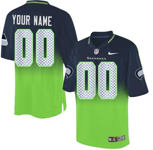 Nike Seattle Seahawks Customized Steel Blue/Green Men's Stitched Elite Fadeaway Fashion NFL Jersey