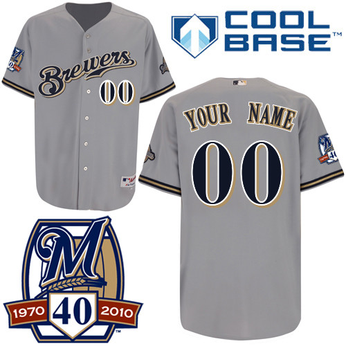 Brewers Personalized Authentic Grey Cool Base w/40th Anniversary Patch MLB Jersey
