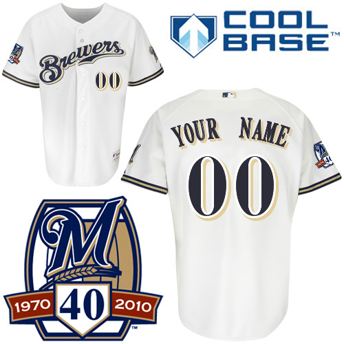 Brewers Personalized Authentic White Cool Base w/40th Anniversary Patch MLB Jersey