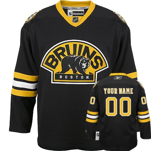 Bruins Third Personalized Authentic Black NHL Jersey (S-3XL)