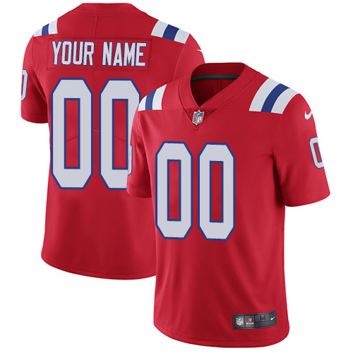 Men's New England Patriots Customized Red Team Color Vapor Untouchable Limited Stitched NFL Jersey