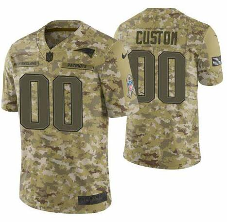 Men's New England Patriots Customized Camo Salute To Service Limited Stitched NFL Jersey