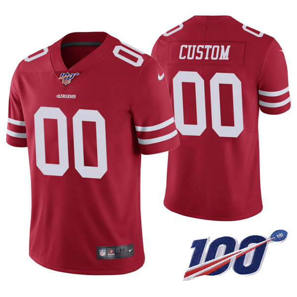 Men's 49ers ACTIVE PLAYER Red 2019 100th Season Vapor Untouchable Limited Stitched NFL Jersey.