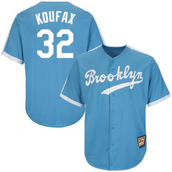 Men's Los Angeles Dodgers #32 Sandy Koufax Blue Throwback Cool Base Stitched MLB Jersey