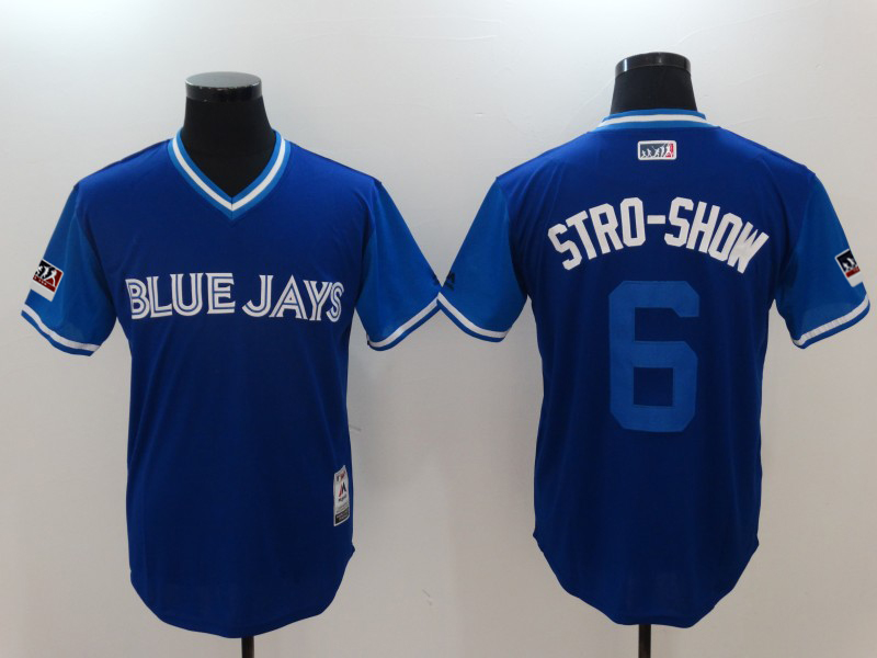 "Men's Toronto Blue Jays Marcus Stroman""Stro-Show"" Majestic Royal/Light 2018 Players' Weekend Jersey"