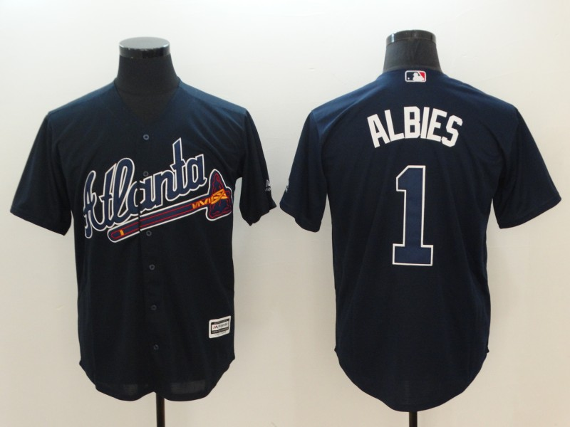 Men's Atlanta Braves #1 Ozhaino Albies Navy Flexbase Stitched MLB Jersey