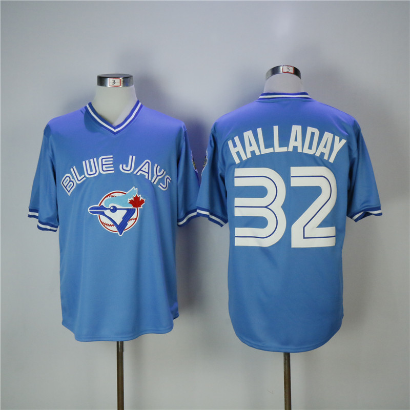 Men's Toronto Blue Jays #32 Roy Halladay Light Blue Throwback Stitched MLB Jersey