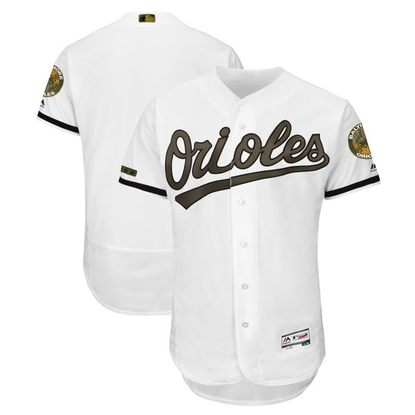 Men's Baltimore Orioles Blank White 2018 Memorial Day Flexbase Stitched MLB Jersey