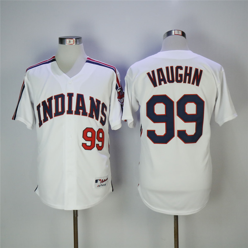 Men's Cleveland Indians #99 Ricky Vaughn White Cooperstown Collection Stitched MLB Jersey