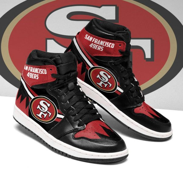 Women's San Francisco 49ers AJ High Top Leather Sneakers 003
