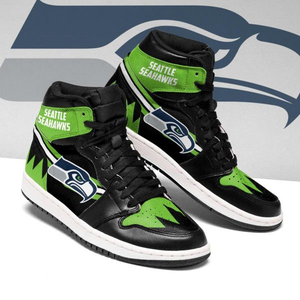 Women's Seattle Seahawks AJ High Top Leather Sneakers 003