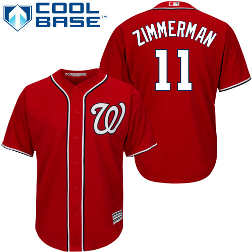 Men's Washington Nationals #11 Ryan Zimmerman Red Cool Base Stitched MLB Jersey