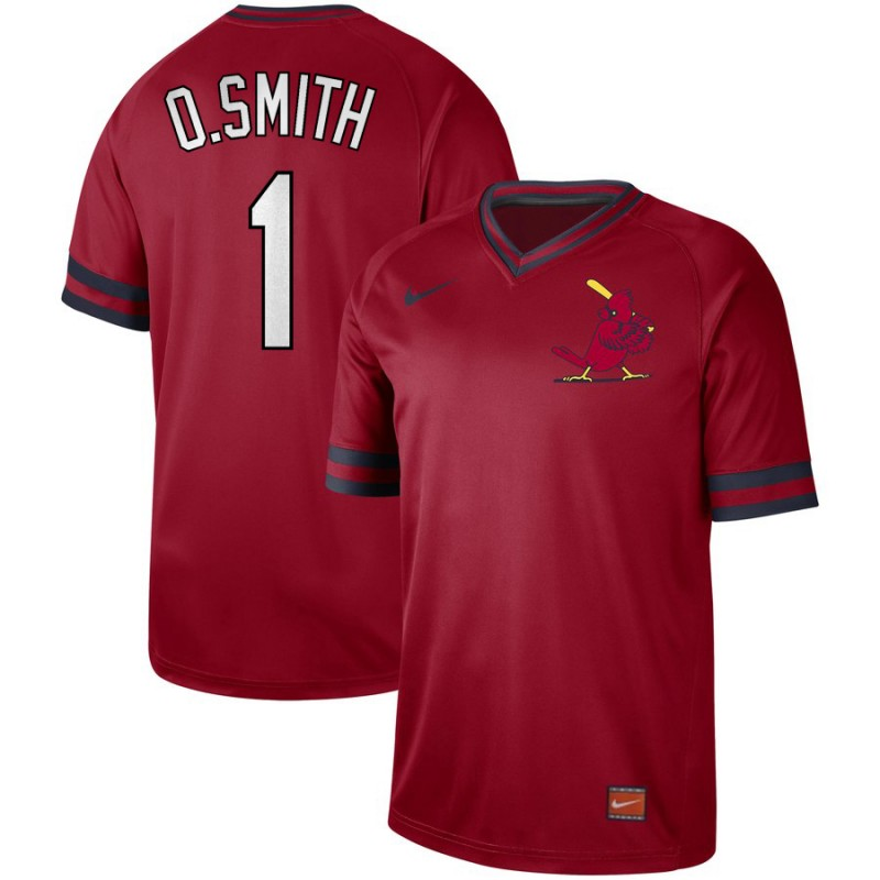 Men's St. Louis Cardinals #1 Ozzie Smith Red Cooperstown Collection Legend Stitched MLB Jersey