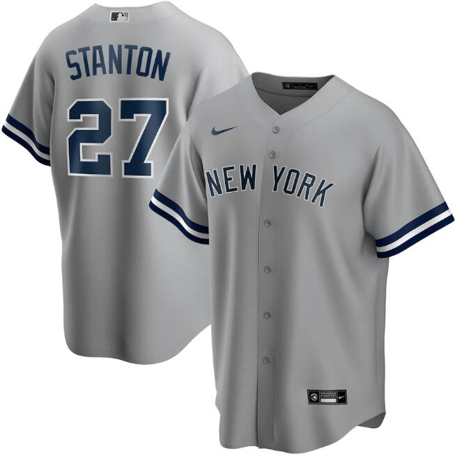 Men's New York Yankees Grey #27 Giancarlo Stanton Cool Base Stitched MLB Jersey.