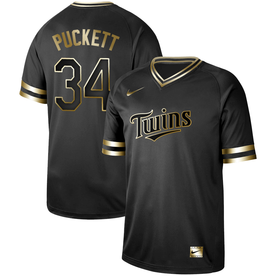 Men's Minnesota Twins #34 Kirby Puckett Black Gold Stitched MLB Jersey