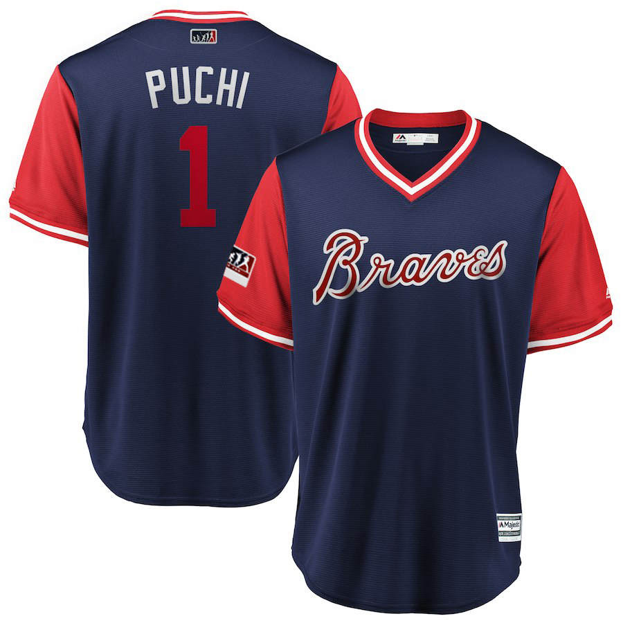 "Men's Atlanta Braves #1 Ozzie Albies ""Puchi"" Majestic Navy/Red 2018 Players' Weekend Authentic Stitched MLB Jersey"