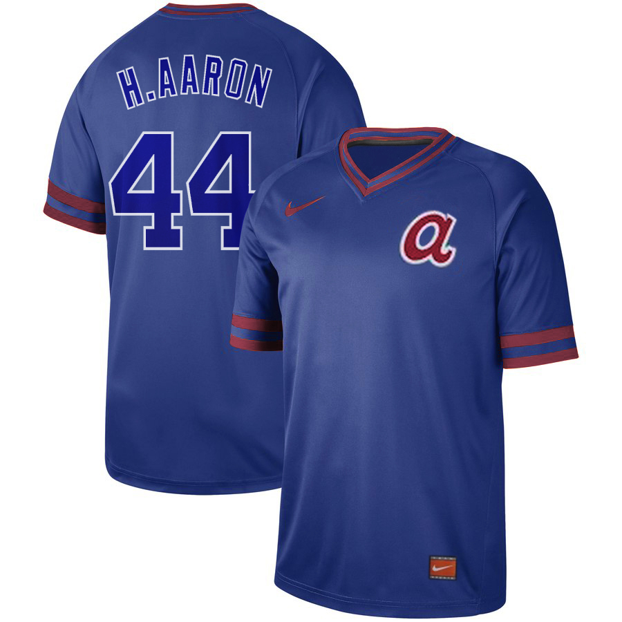 Men's Atlanta Braves #44 Hank Aaron Blue Cooperstown Collection Legend Stitched MLB Jersey