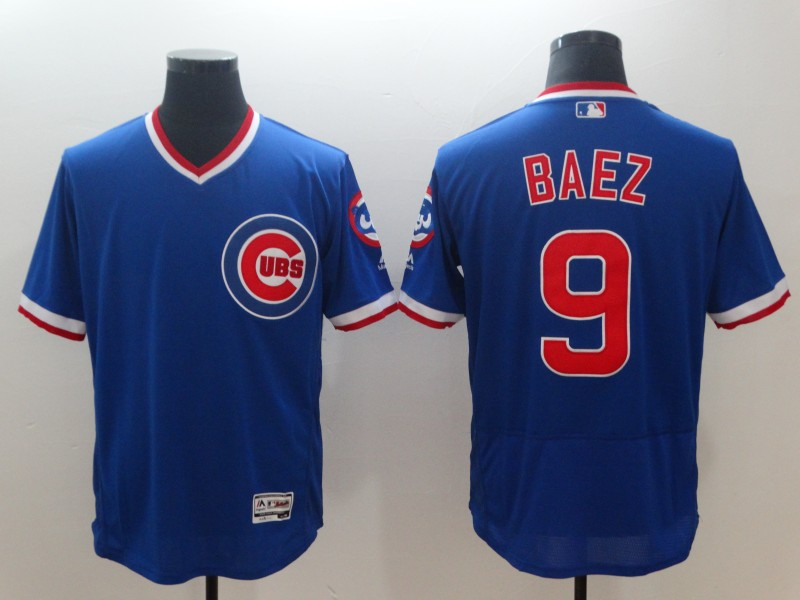 Men's MLB Cubs #9 Javier Baez Royal Throwback Flexbase Stitched Jersey