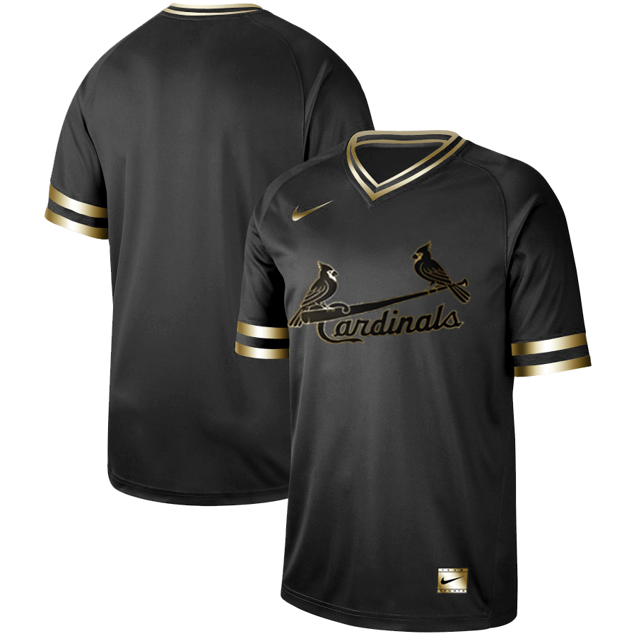 Men's St. Louis Cardinals Black Gold Stitched MLB Jersey