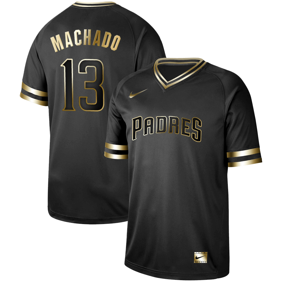 Men's San Diego Padres #13 Manny Machado Black Gold Stitched MLB Jersey