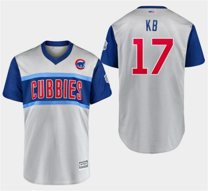 "Men's Chicago Cubs #17 Kris Bryant ""KB"" Majestic Gray 2019 MLB Little League Classic Stitched MLB Jersey"