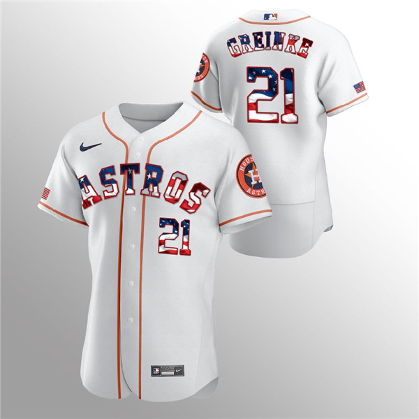 Men's Houston Astros White #21 Zack Greinke 2020 Stars & Stripes Flex Base Stitched MLB Jersey