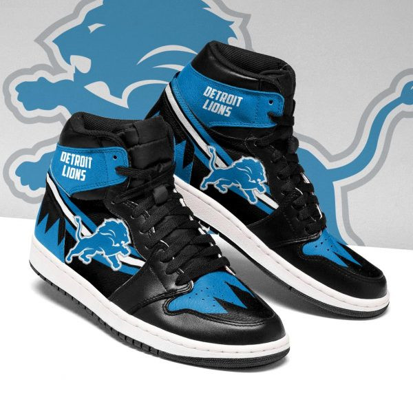 Women's Detroit Lions AJ High Top Leather Sneakers 003