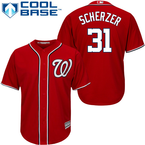 Men's Washington Nationals #31 Max Scherzer Majestic Red 2019 Cool Base Stitched MLB Jersey