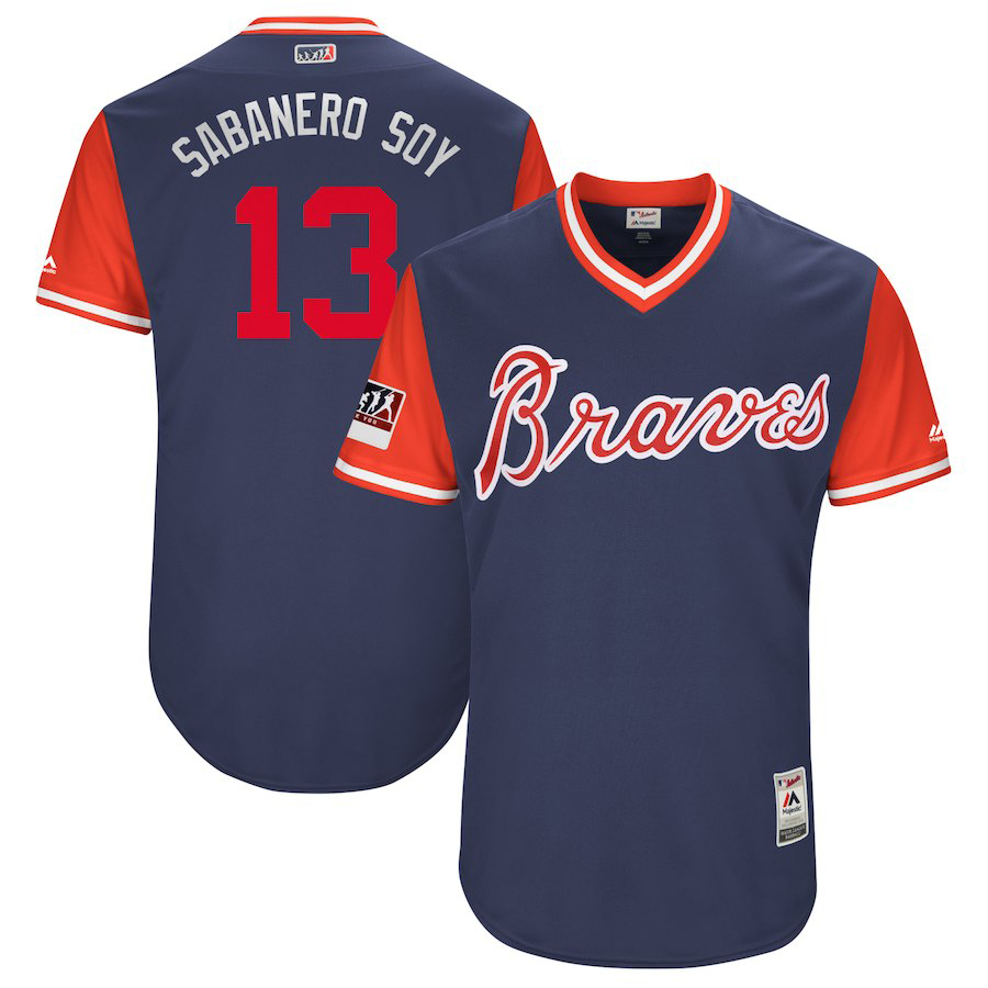 "Men's Atlanta Braves #13 Ronald Acuna Jr. ""Sabanero Soy"" Majestic Navy/Red 2018 Players' Weekend Authentic Stitched MLB Jersey"