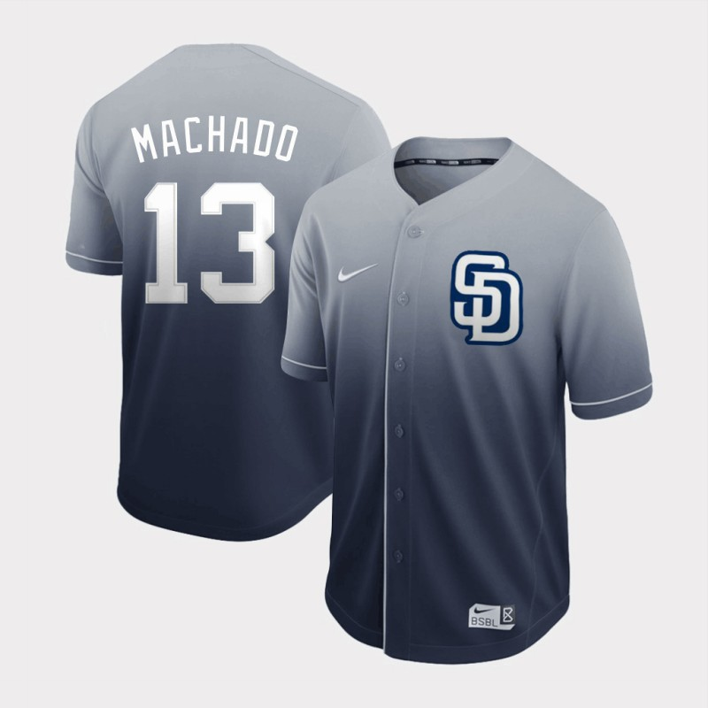 Men's San Diego Padres #13 Manny Machado Grey Fade Stitched MLB Jersey