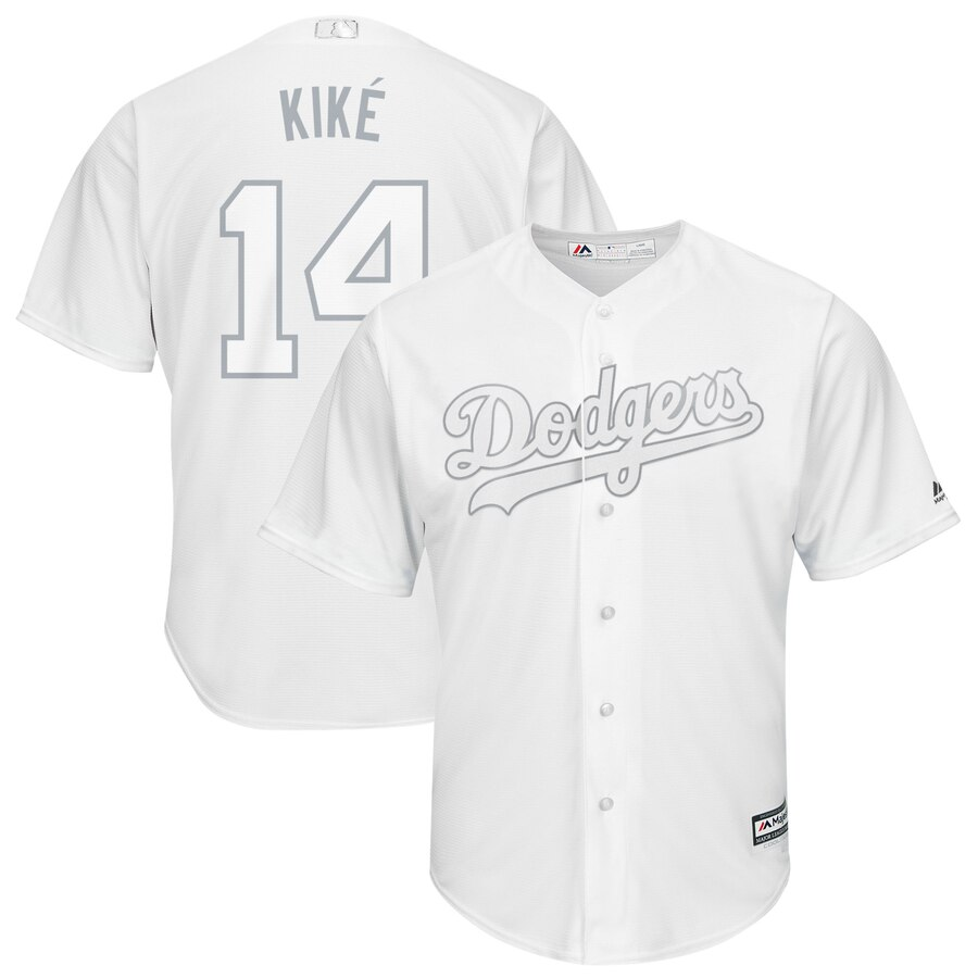 Men's Los Angeles Dodgers #14 Kiké Hernández Majestic White 2019 Players' Weekend Player Stitched MLB Jersey