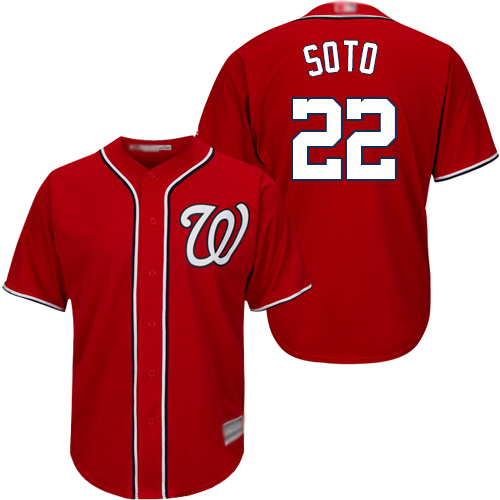 Men's Washington Nationals #22 Juan Soto Red Cool Base Stitched MLB Jersey