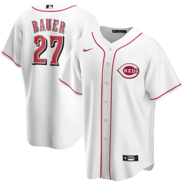 Men's Cincinnati Reds White #27 Trevor Bauer Cool Base Stitched MLB Jersey