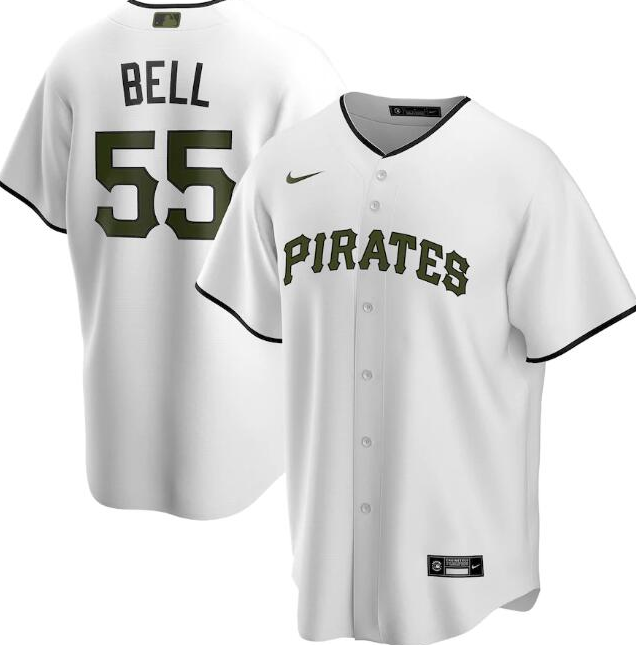 Men's Pittsburgh Pirates White #55 Josh Bell Cool Base Stitched MLB Jersey