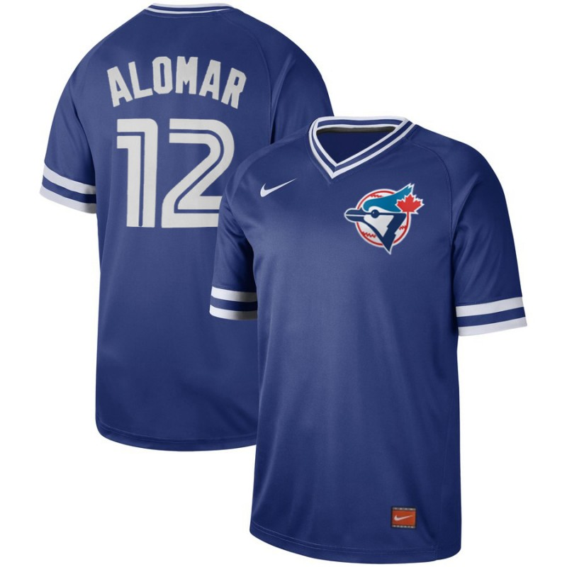 Men's Toronto Blue Jays #12 Roberto Alomar Royal Cooperstown Collection Legend Stitched MLB Jersey