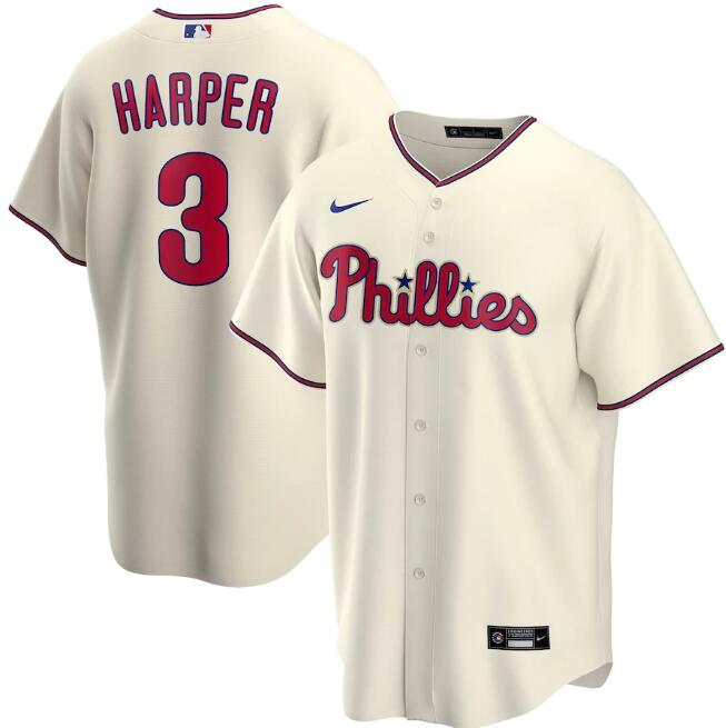 Men's Philadelphia Phillies Cream #3 Bryce Harper Cool Base Stitched MLB Jersey