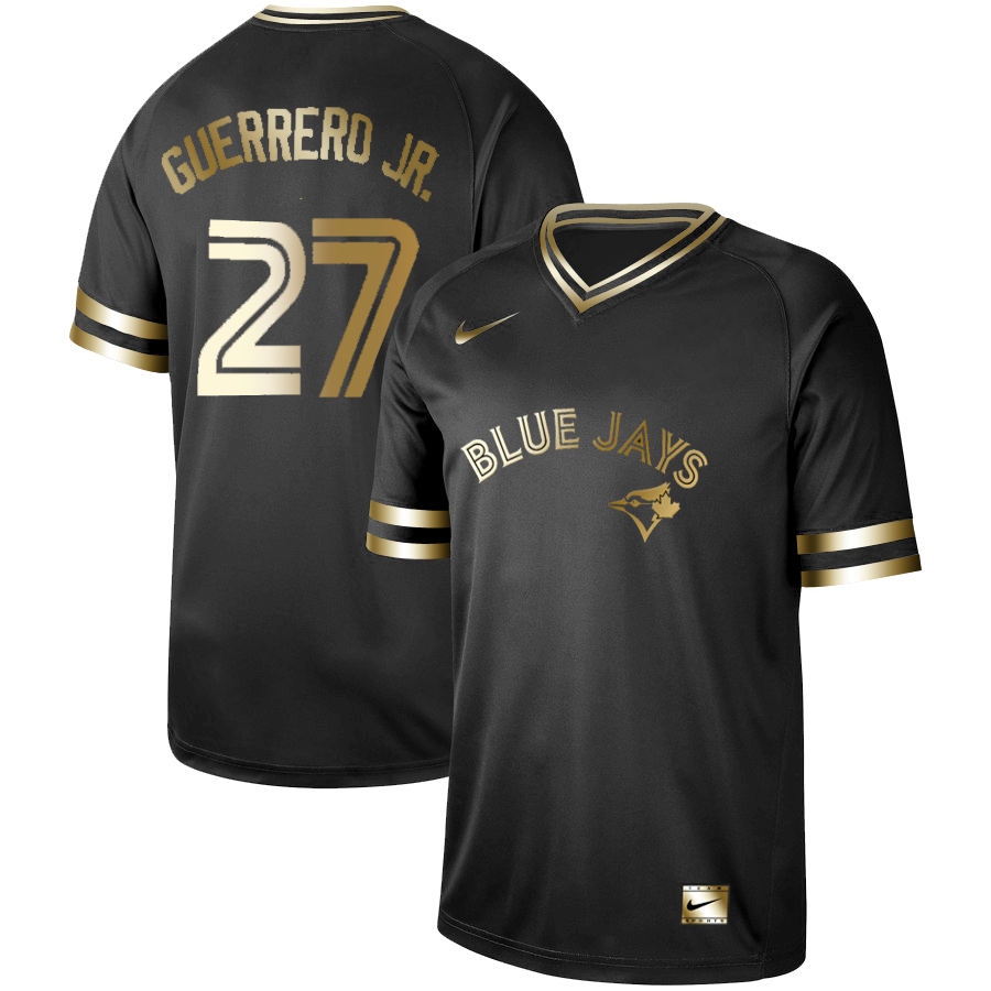 Men's Toronto Blue Jays #27 Vladimir Guerrero Jr. Black Gold Stitched MLB Jersey