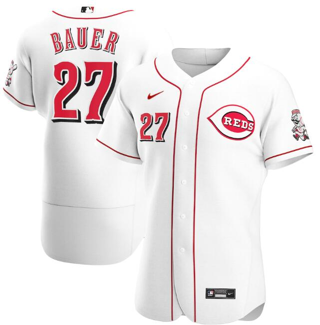 Men's Cincinnati Reds White #27 Trevor Bauer Flex Base Stitched MLB Jersey