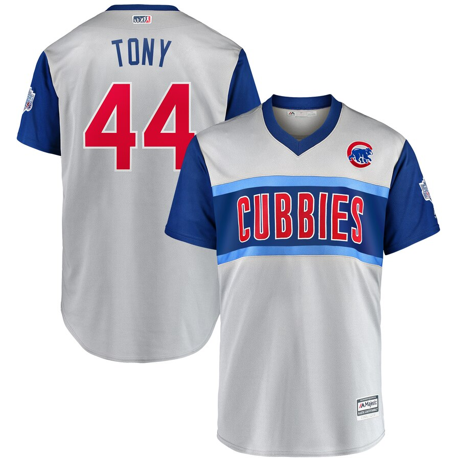 "Men's Chicago Cubs #44 Anthony Rizzo ""Tony"" Majestic Gray 2019 MLB Little League Classic Stitched MLB Jersey"