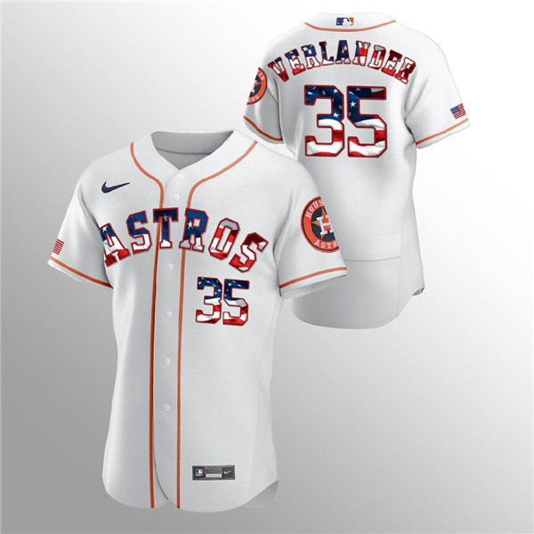 Men's Houston Astros White #35 Justin Verlander 2020 Stars & Stripes Flex Base Stitched MLB Jersey