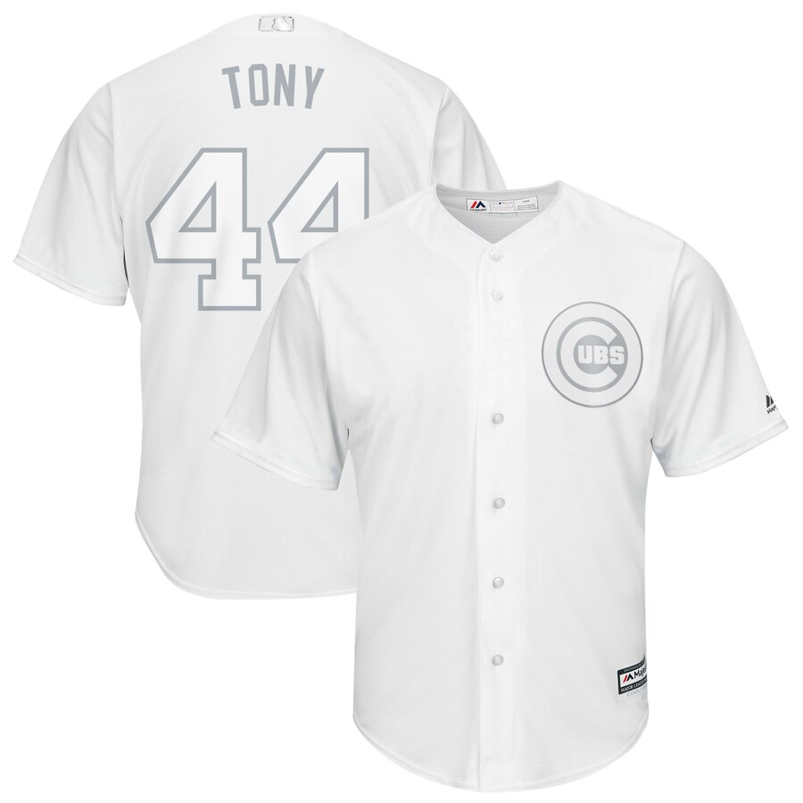 "Men's Chicago Cubs #44 Anthony Rizzo ""Tony"" Majestic White 2019 Players' Weekend Stitched MLB Jersey"