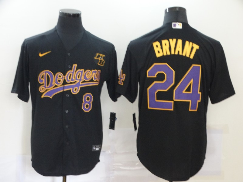 Men's Los Angeles Dodgers Front #8 Back #24 Kobe Bryant Throwback Black With KB Patch Cool Base Stitched MLB Jersey